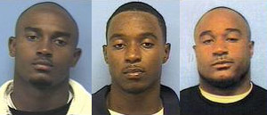 Tarell Brown, Tyrell Gatewood, and Aaron Harris mugshots