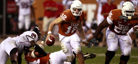 Colt McCoy runs for yards against Texas Tech