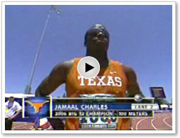 Jamaal Charles competes for the 100m title