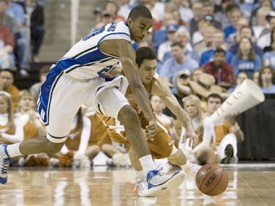 Dogus Balbay loses the ball to a Duke defender. (TexasSports.com)