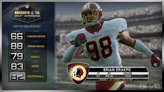 Brian Orakpo will be an 82 rated defensive end for the Redskins in Madden 10.