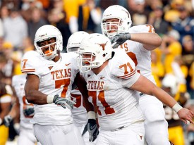 Will Chris Hall and the Texas offensive line be celebrating against Alabama? (Image: Statesman)