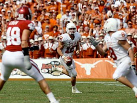 Colt McCoy will need to use his legs to complement his arm to beat Alabama.