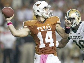Texas QB David Ash attempts a pass against Baylor