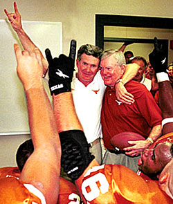 Mack Brown and Darrell Royal