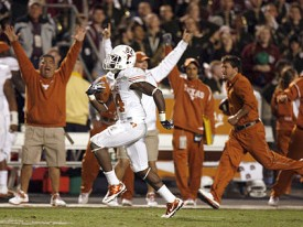 True freshman receiver Marquise Goodwin's kick return TD in the 4th quarter ended it. (Image: Statesman)