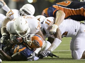 The Texas defense will try to swarm Trevor Vittatoe and the UTEP offense.