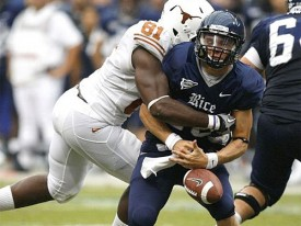 Sam Acho sacks the Rice QB causing a fumble.