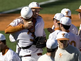 Brandon Workman celebrates with his battery mate after throwing the 27th no-hitter in Texas history. (TexasSports.com)